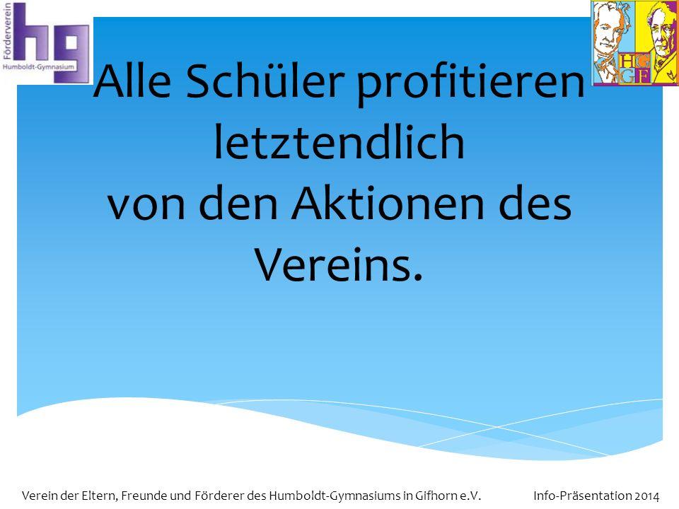 Verein der Eltern, Freunde und Förderer des Humboldt-Gymnasiums in Gifhorn e.V. Info-Präsentation 2014 Alle Schüler profitieren letztendlich von den A