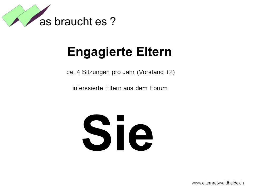 www.elternrat-waidhalde.ch as braucht es ? Engagierte Eltern ca. 4 Sitzungen pro Jahr (Vorstand +2) interssierte Eltern aus dem Forum Sie