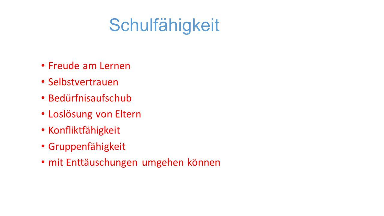 Sprachlicher Bereich deutliche Aussprache Deutsche Sprache verstehen Wortschatz ( auch Begriffe wie mehr – weniger, vor – hinter) Merkfähigkeit
