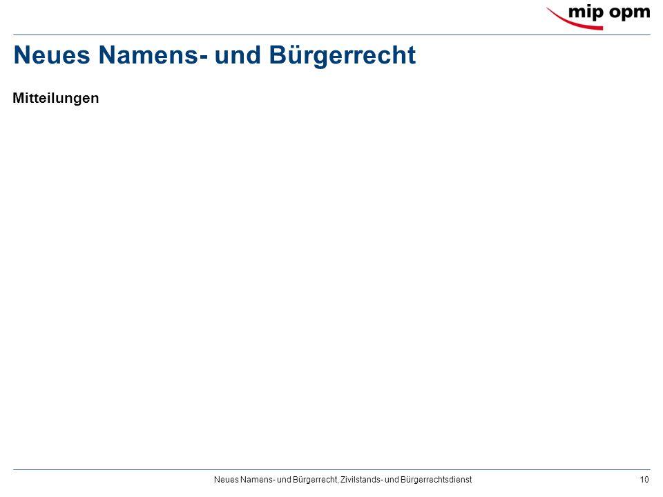 Neues Namens- und Bürgerrecht, Zivilstands- und Bürgerrechtsdienst10 Neues Namens- und Bürgerrecht Mitteilungen