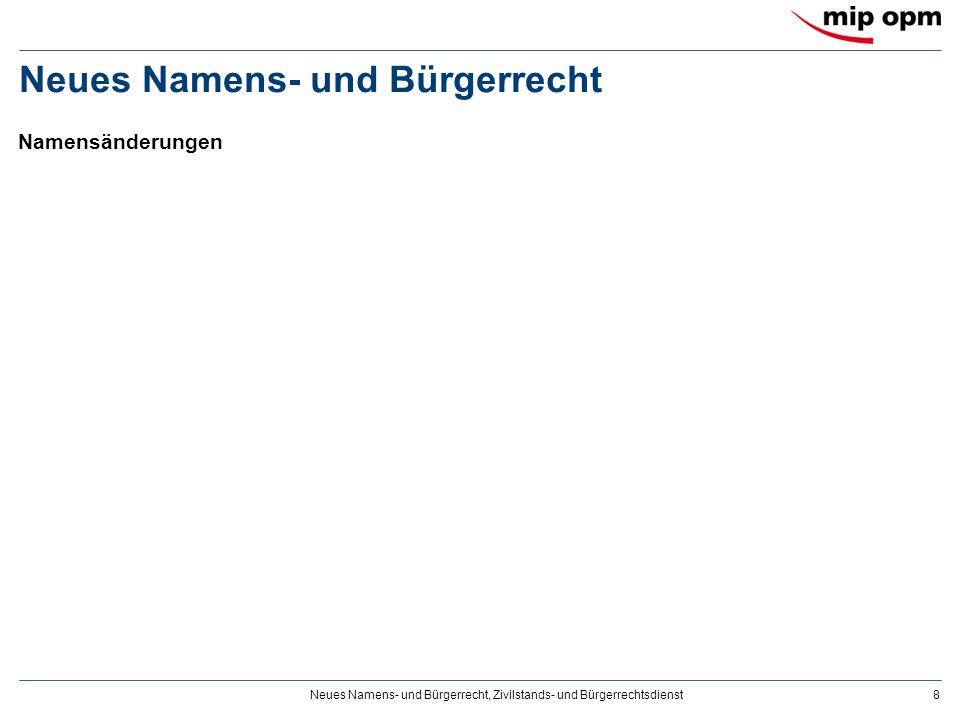 Neues Namens- und Bürgerrecht, Zivilstands- und Bürgerrechtsdienst8 Neues Namens- und Bürgerrecht Namensänderungen