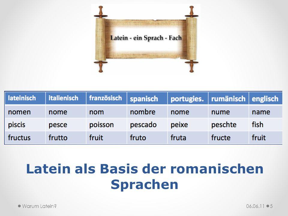 Latein als Basis der romanischen Sprachen 06.06.11Warum Latein?5