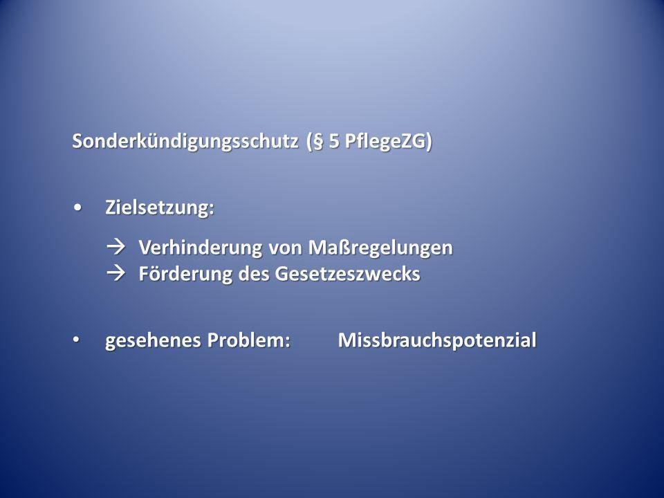 Sonderkündigungsschutz (§ 5 PflegeZG) Zielsetzung:Zielsetzung: Verhinderung von Maßregelungen Förderung des Gesetzeszwecks Verhinderung von Maßregelun