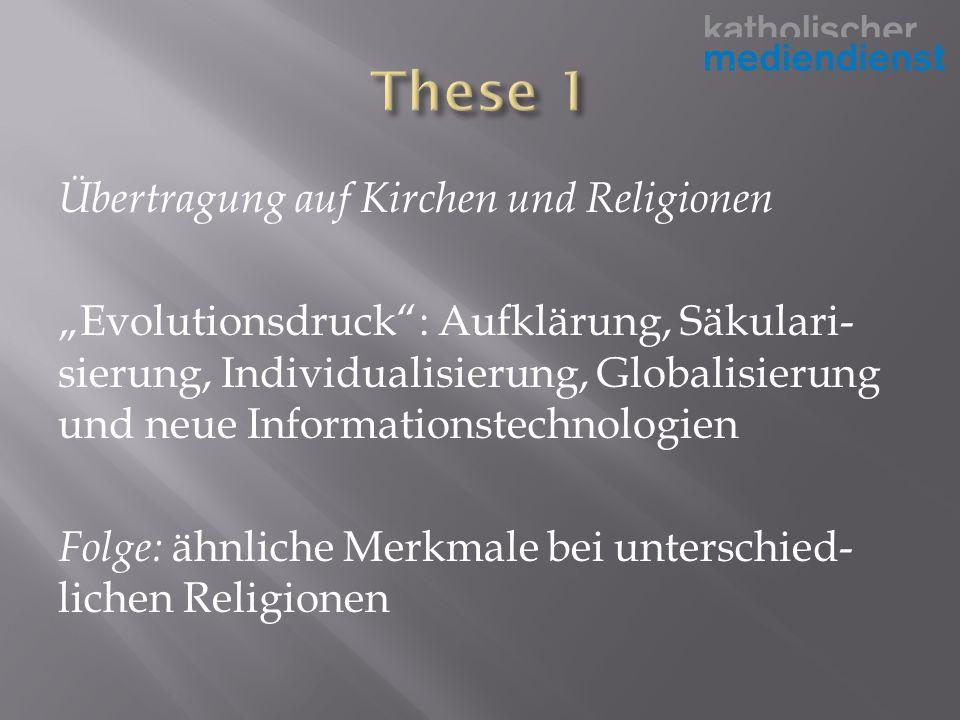 Übertragung auf Kirchen und Religionen Evolutionsdruck: Aufklärung, Säkulari- sierung, Individualisierung, Globalisierung und neue Informationstechnologien Folge: ähnliche Merkmale bei unterschied- lichen Religionen