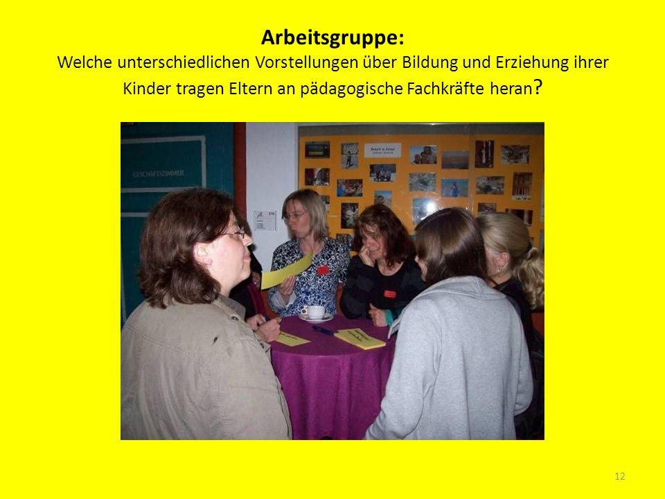 Arbeitsgruppe: Welche unterschiedlichen Vorstellungen über Bildung und Erziehung ihrer Kinder tragen Eltern an pädagogische Fachkräfte heran ? 12