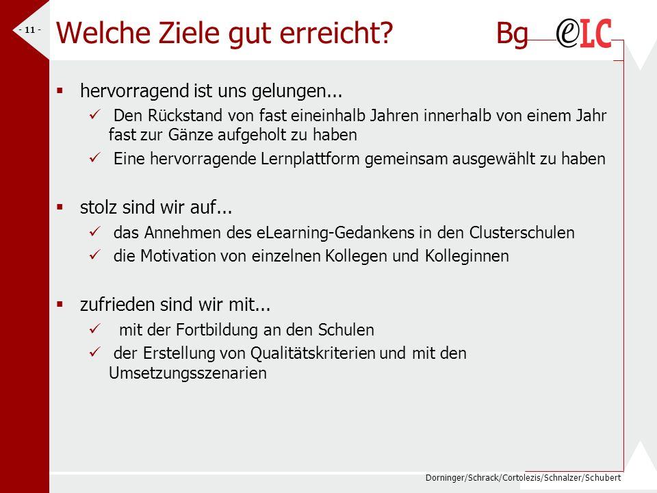 Dorninger/Schrack/Cortolezis/Schnalzer/Schubert - 11 - Welche Ziele gut erreicht? Bg hervorragend ist uns gelungen... Den Rückstand von fast eineinhal