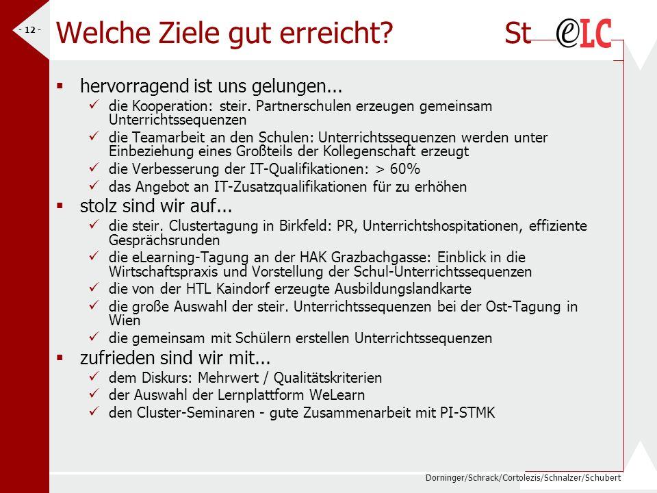 Dorninger/Schrack/Cortolezis/Schnalzer/Schubert - 12 - Welche Ziele gut erreicht? St hervorragend ist uns gelungen... die Kooperation: steir. Partners