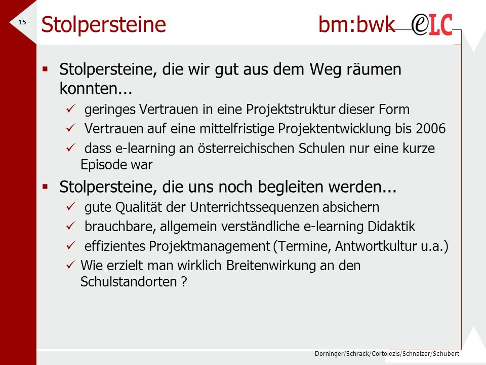 Dorninger/Schrack/Cortolezis/Schnalzer/Schubert - 15 - Stolpersteine bm:bwk Stolpersteine, die wir gut aus dem Weg räumen konnten... geringes Vertraue