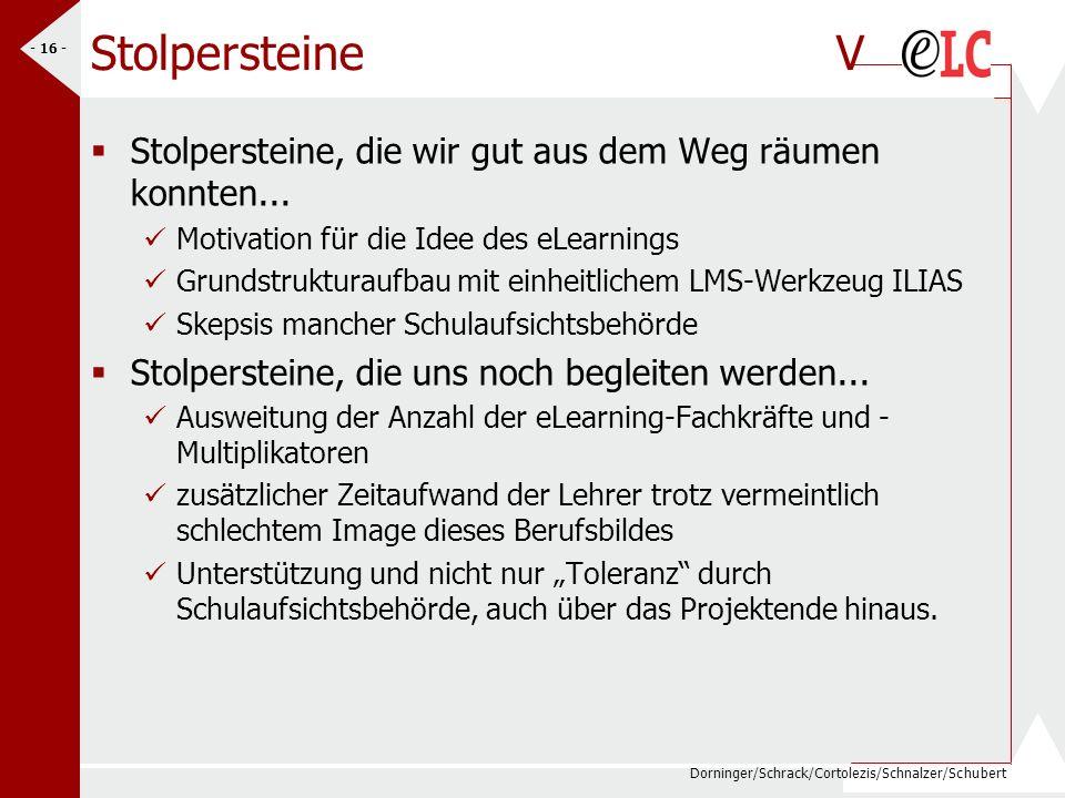 Dorninger/Schrack/Cortolezis/Schnalzer/Schubert - 16 - StolpersteineV Stolpersteine, die wir gut aus dem Weg räumen konnten... Motivation für die Idee