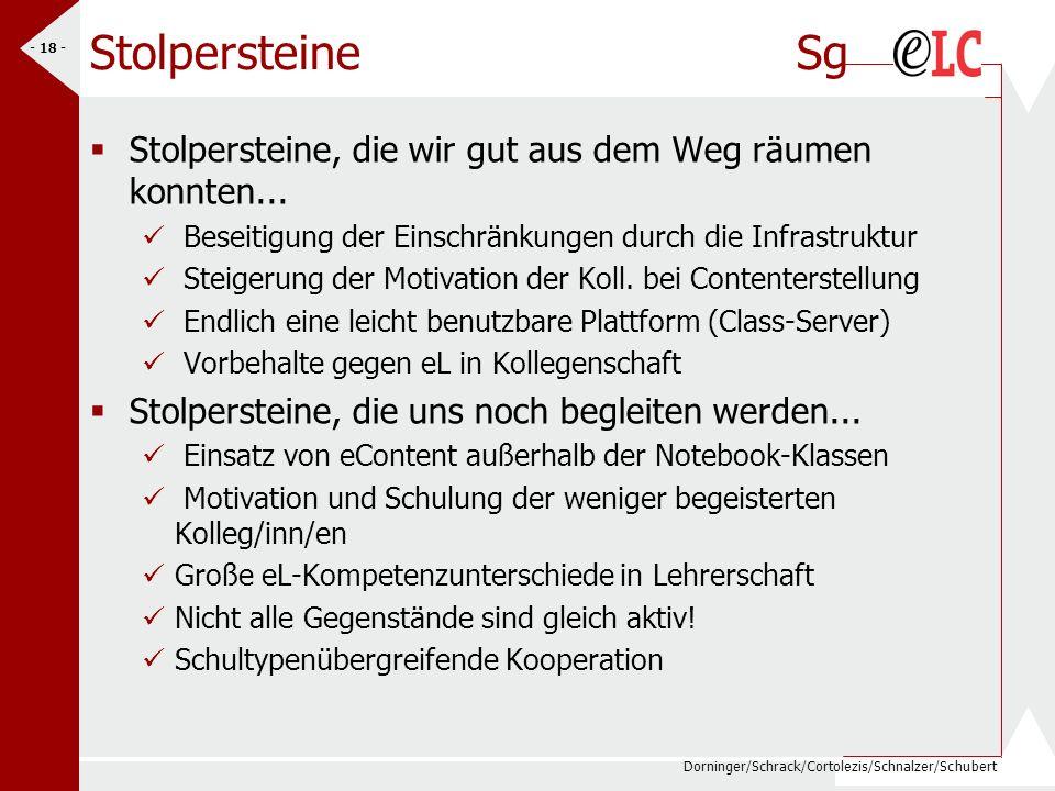 Dorninger/Schrack/Cortolezis/Schnalzer/Schubert - 18 - Stolpersteine Sg Stolpersteine, die wir gut aus dem Weg räumen konnten... Beseitigung der Einsc