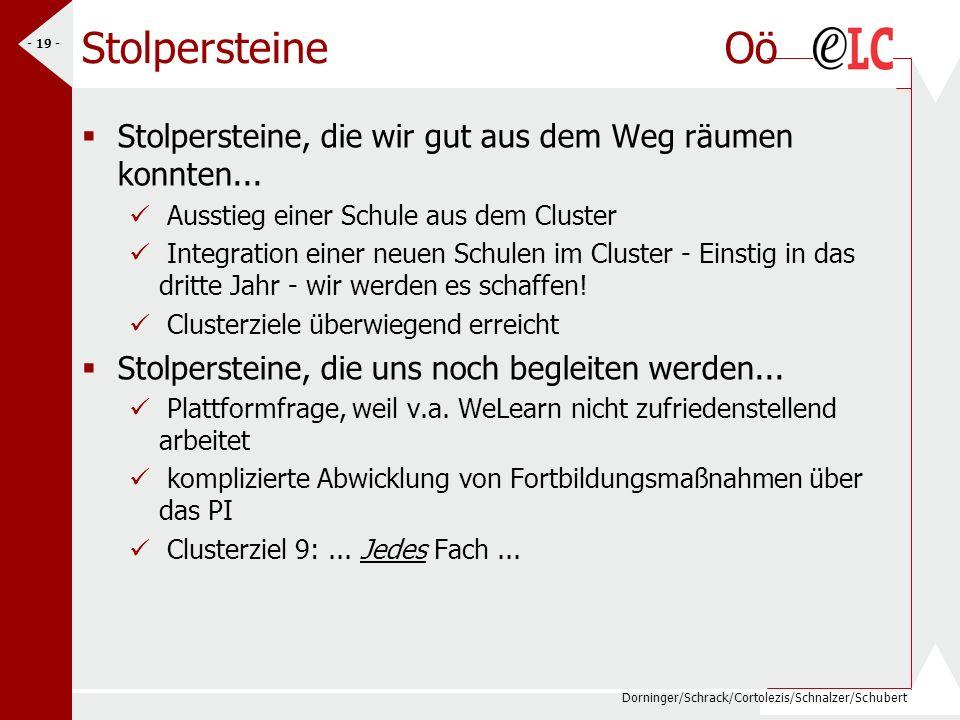 Dorninger/Schrack/Cortolezis/Schnalzer/Schubert - 19 - Stolpersteine Oö Stolpersteine, die wir gut aus dem Weg räumen konnten... Ausstieg einer Schule