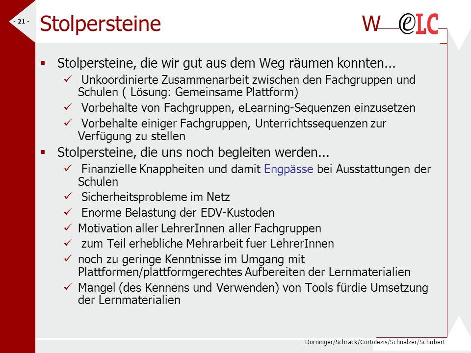 Dorninger/Schrack/Cortolezis/Schnalzer/Schubert - 21 - Stolpersteine W Stolpersteine, die wir gut aus dem Weg räumen konnten... Unkoordinierte Zusamme