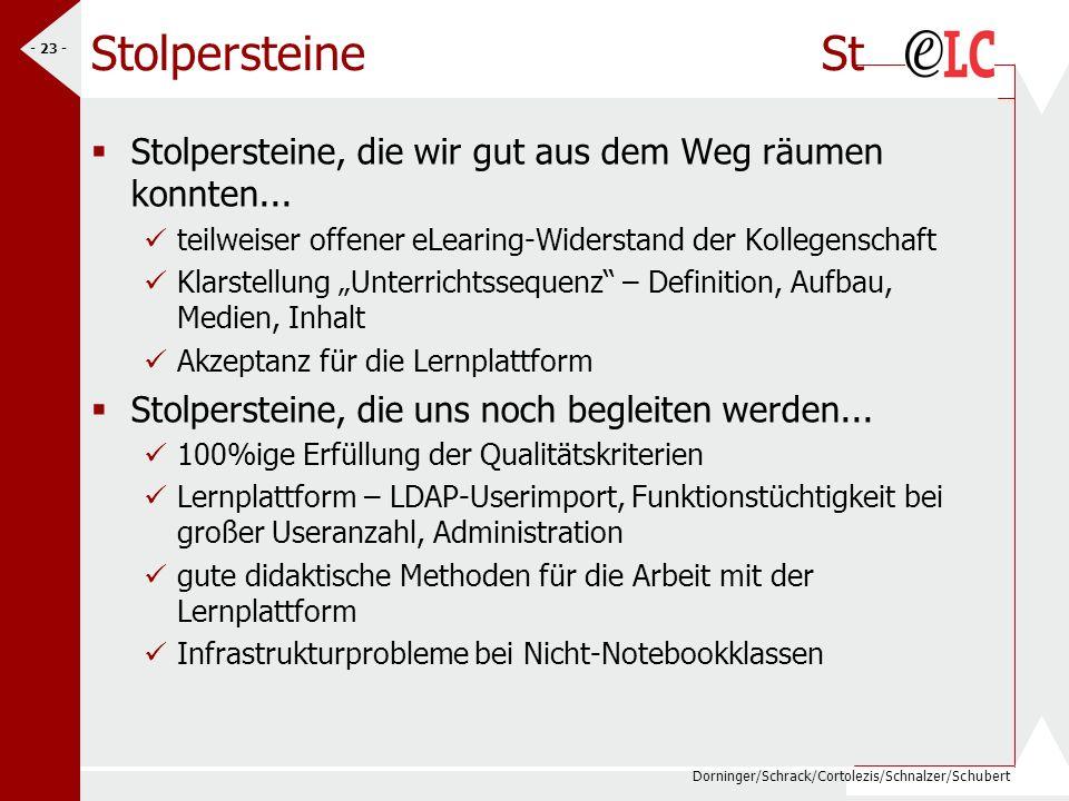 Dorninger/Schrack/Cortolezis/Schnalzer/Schubert - 23 - Stolpersteine St Stolpersteine, die wir gut aus dem Weg räumen konnten... teilweiser offener eL