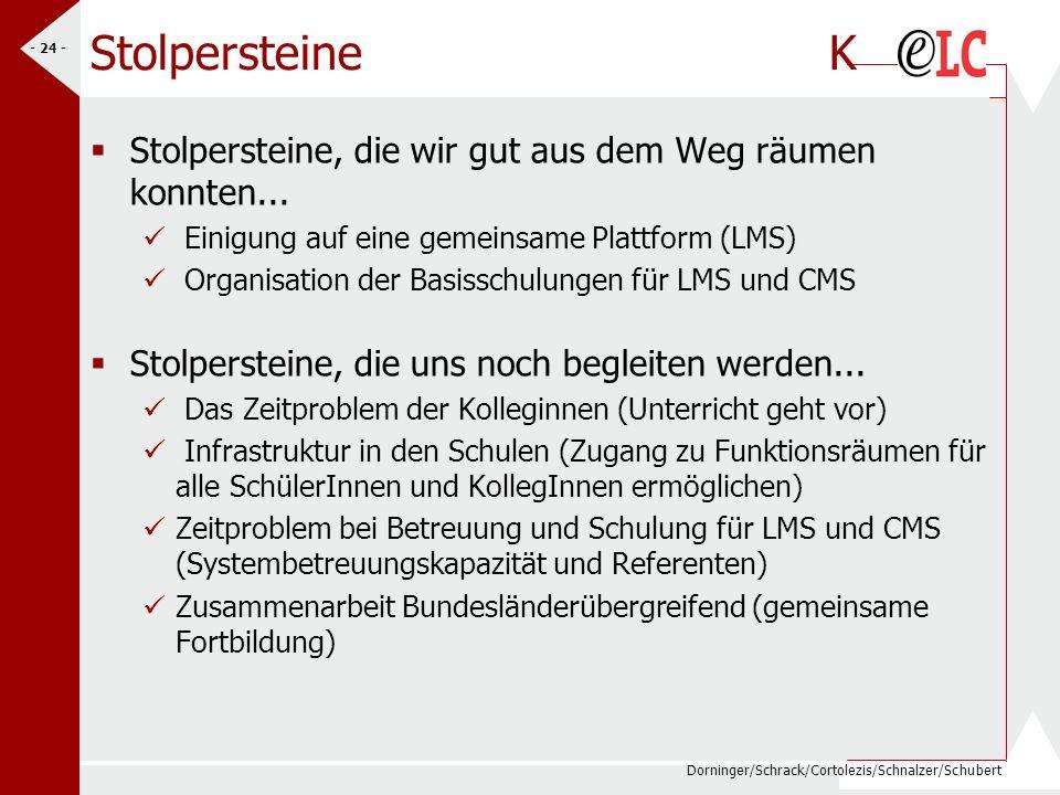 Dorninger/Schrack/Cortolezis/Schnalzer/Schubert - 24 - Stolpersteine K Stolpersteine, die wir gut aus dem Weg räumen konnten... Einigung auf eine geme