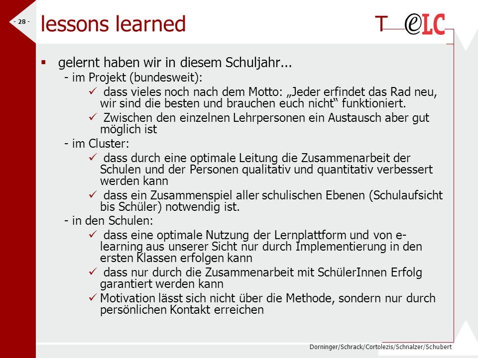 Dorninger/Schrack/Cortolezis/Schnalzer/Schubert - 28 - lessons learned T gelernt haben wir in diesem Schuljahr... - im Projekt (bundesweit): dass viel