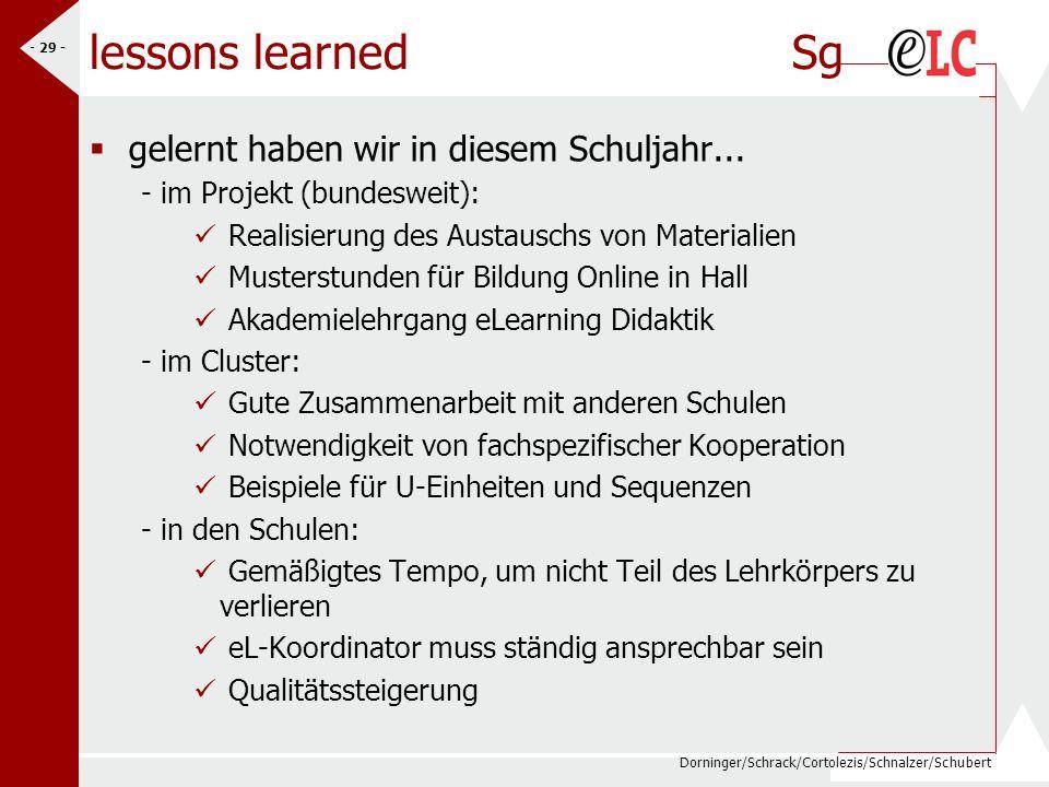 Dorninger/Schrack/Cortolezis/Schnalzer/Schubert - 29 - lessons learned Sg gelernt haben wir in diesem Schuljahr... - im Projekt (bundesweit): Realisie