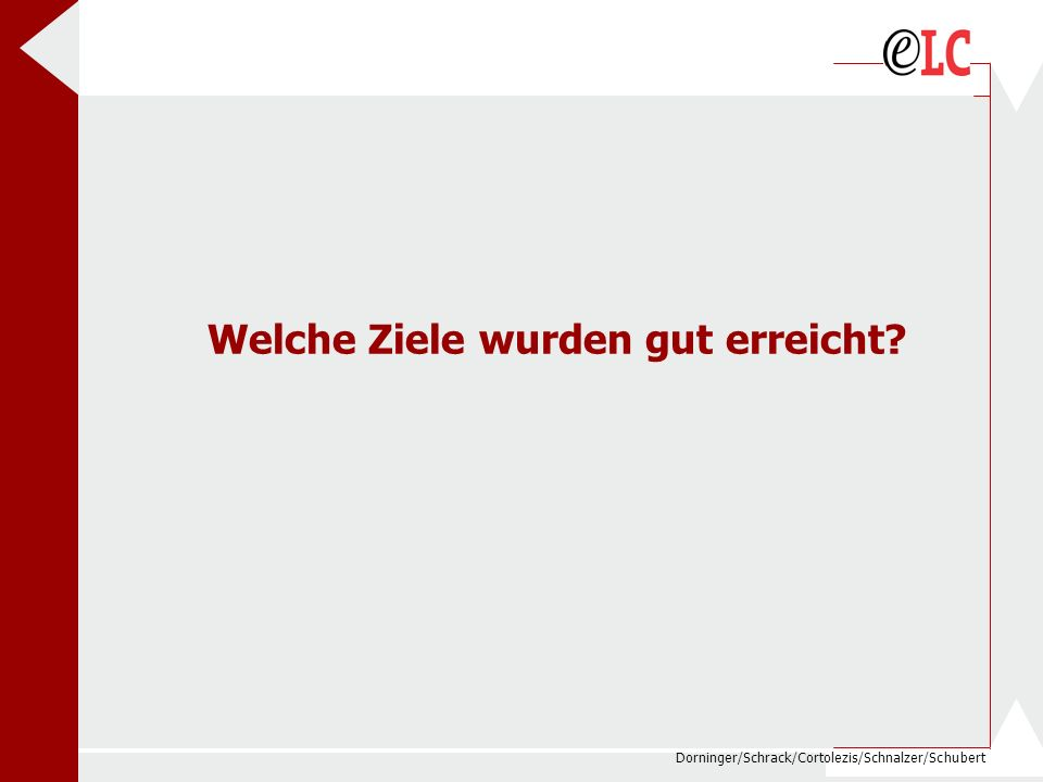 Dorninger/Schrack/Cortolezis/Schnalzer/Schubert Welche Ziele wurden gut erreicht?