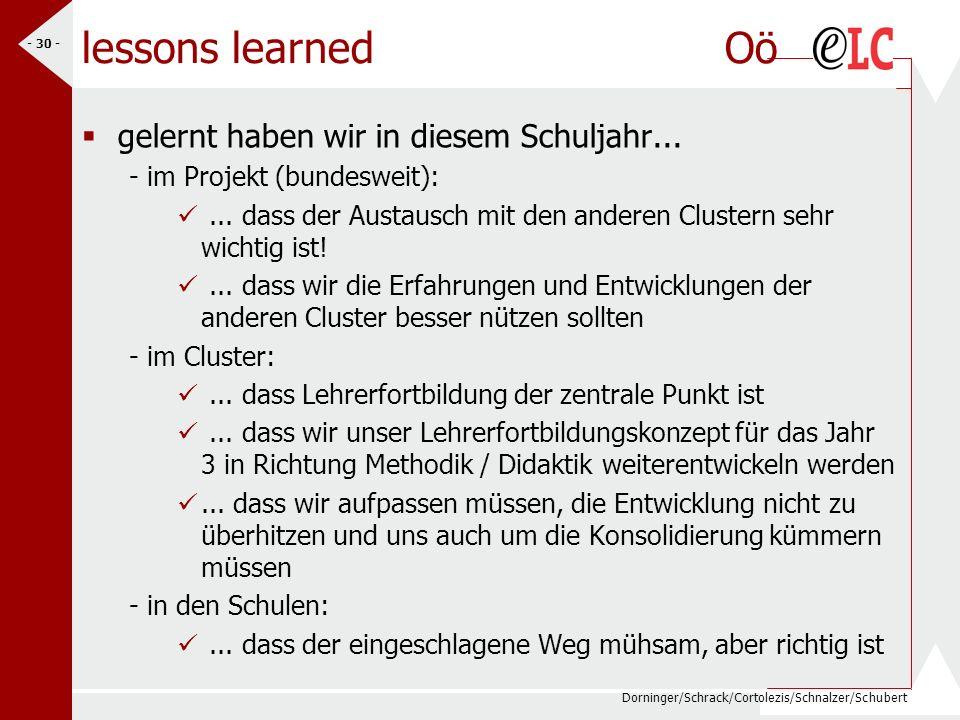 Dorninger/Schrack/Cortolezis/Schnalzer/Schubert - 30 - lessons learned Oö gelernt haben wir in diesem Schuljahr... - im Projekt (bundesweit):... dass