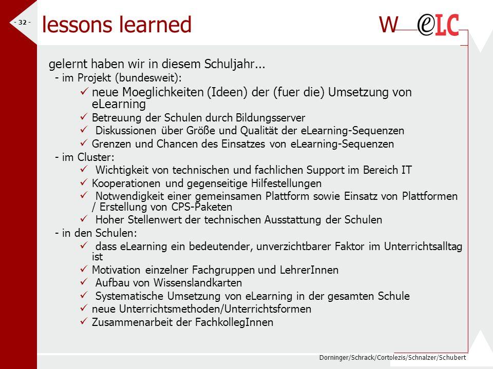 Dorninger/Schrack/Cortolezis/Schnalzer/Schubert - 32 - lessons learned W gelernt haben wir in diesem Schuljahr... - im Projekt (bundesweit): neue Moeg