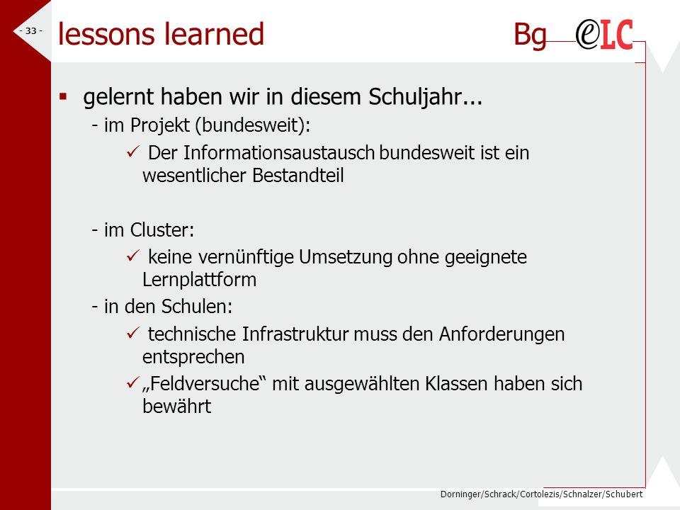 Dorninger/Schrack/Cortolezis/Schnalzer/Schubert - 33 - lessons learned Bg gelernt haben wir in diesem Schuljahr... - im Projekt (bundesweit): Der Info