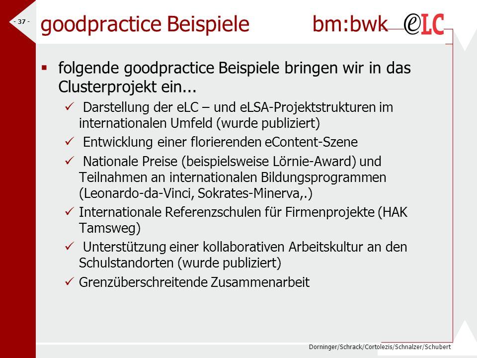 Dorninger/Schrack/Cortolezis/Schnalzer/Schubert - 37 - goodpractice Beispiele bm:bwk folgende goodpractice Beispiele bringen wir in das Clusterprojekt