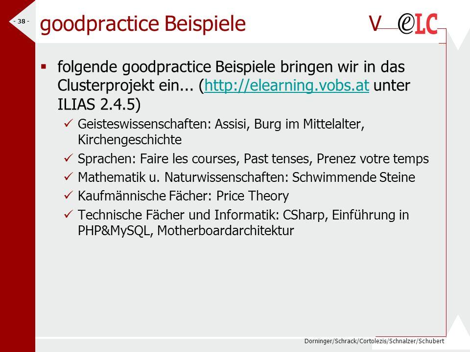 Dorninger/Schrack/Cortolezis/Schnalzer/Schubert - 38 - goodpractice BeispieleV folgende goodpractice Beispiele bringen wir in das Clusterprojekt ein..
