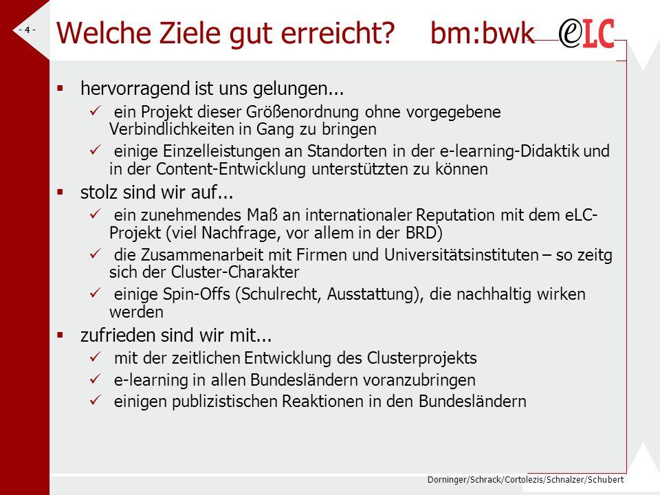 Dorninger/Schrack/Cortolezis/Schnalzer/Schubert - 5 - Welche Ziele gut erreicht.