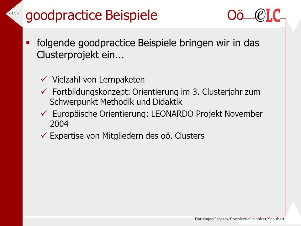 Dorninger/Schrack/Cortolezis/Schnalzer/Schubert - 41 - goodpractice Beispiele Oö folgende goodpractice Beispiele bringen wir in das Clusterprojekt ein