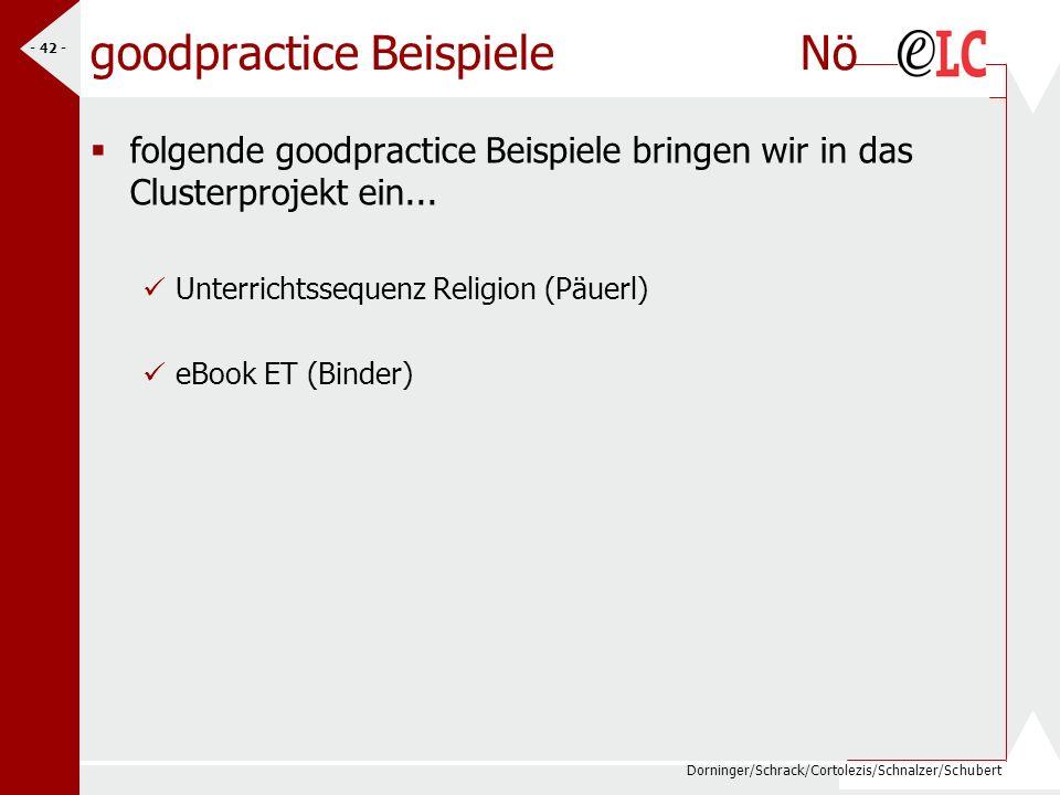 Dorninger/Schrack/Cortolezis/Schnalzer/Schubert - 43 - goodpractice Beispiele W folgende goodpractice Beispiele bringen wir in das Clusterprojekt ein...