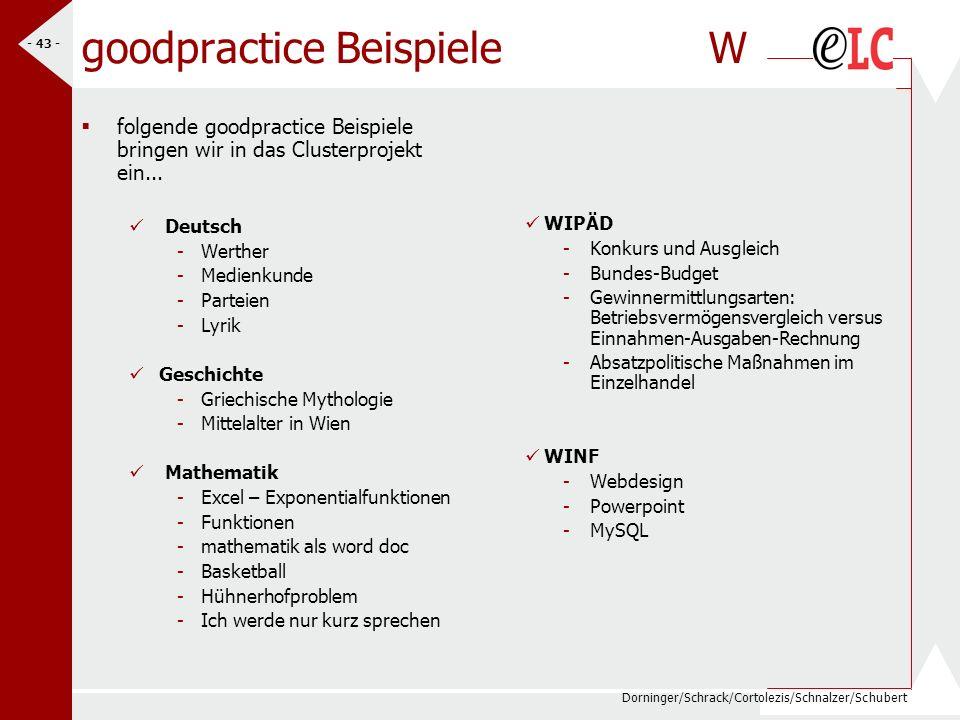 Dorninger/Schrack/Cortolezis/Schnalzer/Schubert - 43 - goodpractice Beispiele W folgende goodpractice Beispiele bringen wir in das Clusterprojekt ein.