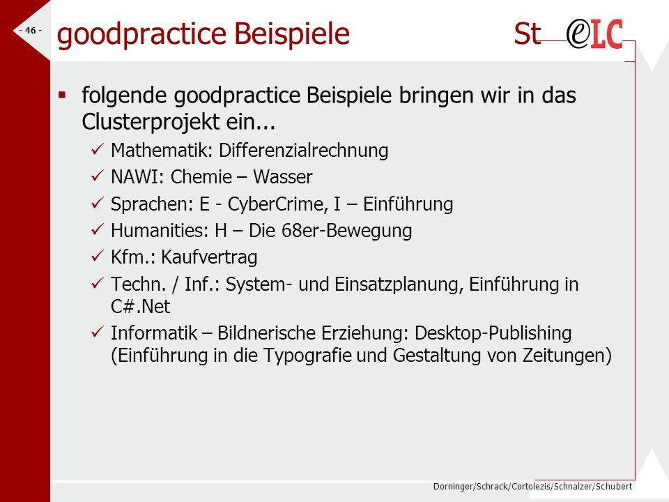 Dorninger/Schrack/Cortolezis/Schnalzer/Schubert - 46 - goodpractice Beispiele St folgende goodpractice Beispiele bringen wir in das Clusterprojekt ein