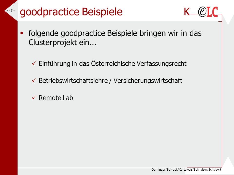 Dorninger/Schrack/Cortolezis/Schnalzer/Schubert - 48 - Motto: Vernetzung/Dissemination bm:bwk Propagierung des eLC/eLSA-Modells als Modell für zeitgemäße Schulentwicklung Vernetzung der Projektakteure auf allen Ebenen – fachdidaktischer Schwerpunkt Mehr Ressourcensteuerung über Fachdidaktik Dissemination von Projekten national/europäisch (HAK Tamsweg –weltw.Referenz, Gutwirth – RW in Europa, HTL-Pinkafeld – Firmen in Umgebung; Referate in BRD, e-learning-Strategie der OCG, …) Ausstattung von e-learning Environments an fortgeschrittenen Standorten (Richtlinien?) Vernetzung mit eContent-Initiativen