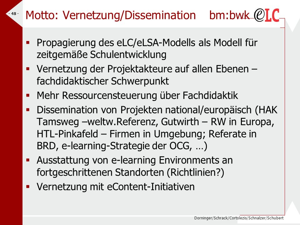 Dorninger/Schrack/Cortolezis/Schnalzer/Schubert - 49 - Internationale Entwicklungen bm:bwk e-learning/e-Education ist Megathema in Europa eEurope 2005 Midterm-Evaluation – Indikatoren EU e-learning Call 2004-2005 eTwinning of schools NNS Austria Action plan (7.9.04, Siemens Forum Wien) Beteiligung von Schulen erwünscht……(W.