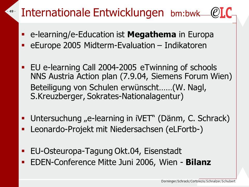 Dorninger/Schrack/Cortolezis/Schnalzer/Schubert - 50 - Ziele 2005 bm:bwk Langsame Verbreiterung der e-learning Expertise an den Standorten (Fachdidaktik, Online-Akademien) Ausbau des eContents nach Zl.