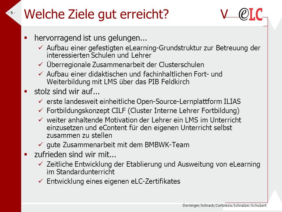 Dorninger/Schrack/Cortolezis/Schnalzer/Schubert - 5 - Welche Ziele gut erreicht? V hervorragend ist uns gelungen... Aufbau einer gefestigten eLearning
