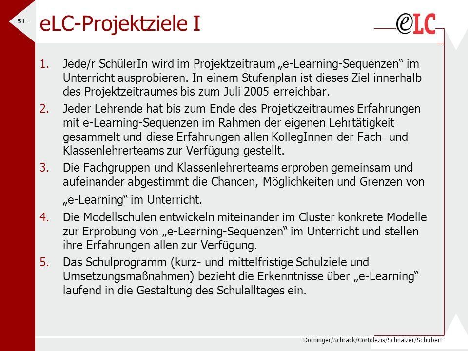 Dorninger/Schrack/Cortolezis/Schnalzer/Schubert - 51 - eLC-Projektziele I 1.Jede/r SchülerIn wird im Projektzeitraum e-Learning-Sequenzen im Unterrich