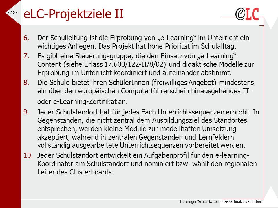 Dorninger/Schrack/Cortolezis/Schnalzer/Schubert - 53 - eLC-Projektziele III 11.In Ergänzung zu Ziel 7 sind die Mitglieder der Steuergruppen über den Standort hinaus bekannt zu machen und eine Fachgruppendiskussion über die Relevanz von e-learning –Didaktik (welchen Mehrwert hat e- learning als Methode für guten Unterricht ?) anzustrengen.