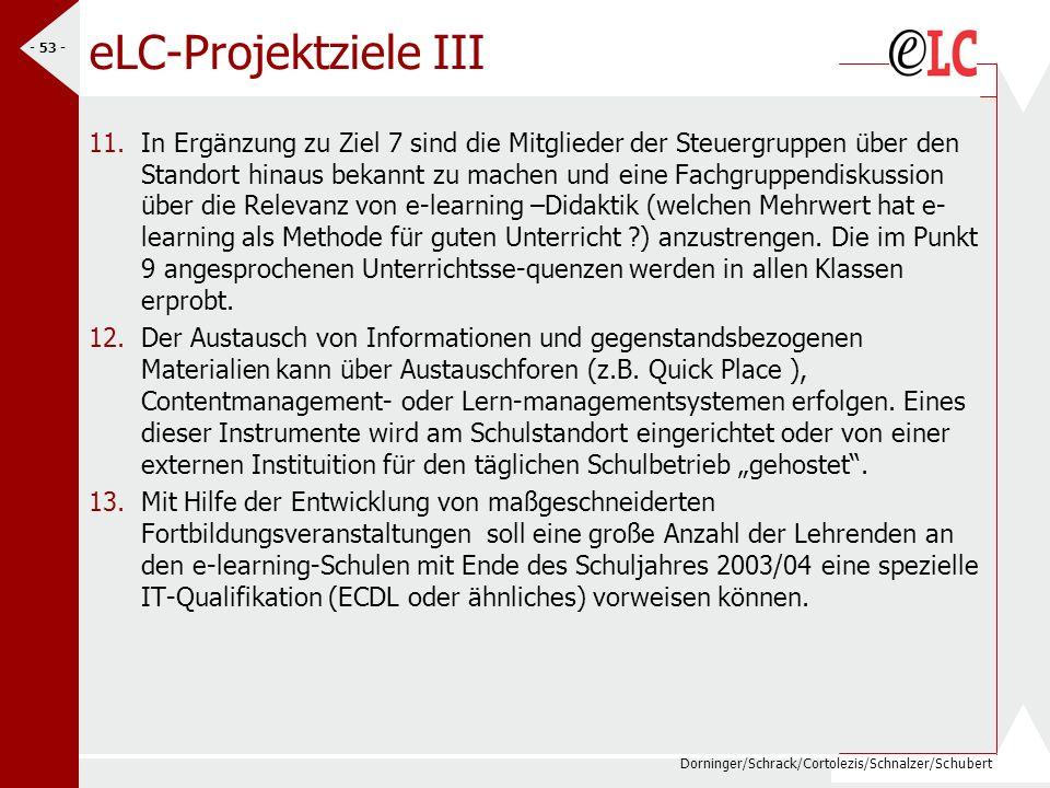 Dorninger/Schrack/Cortolezis/Schnalzer/Schubert - 54 - eLC-Projektziele SJ 04/05 Alle SchülerInnen haben e-learning erprobt (min.in 2Fächern) alle LehrerInnen haben e-Learning Erfahrung auf- und ausgebaut (mind.