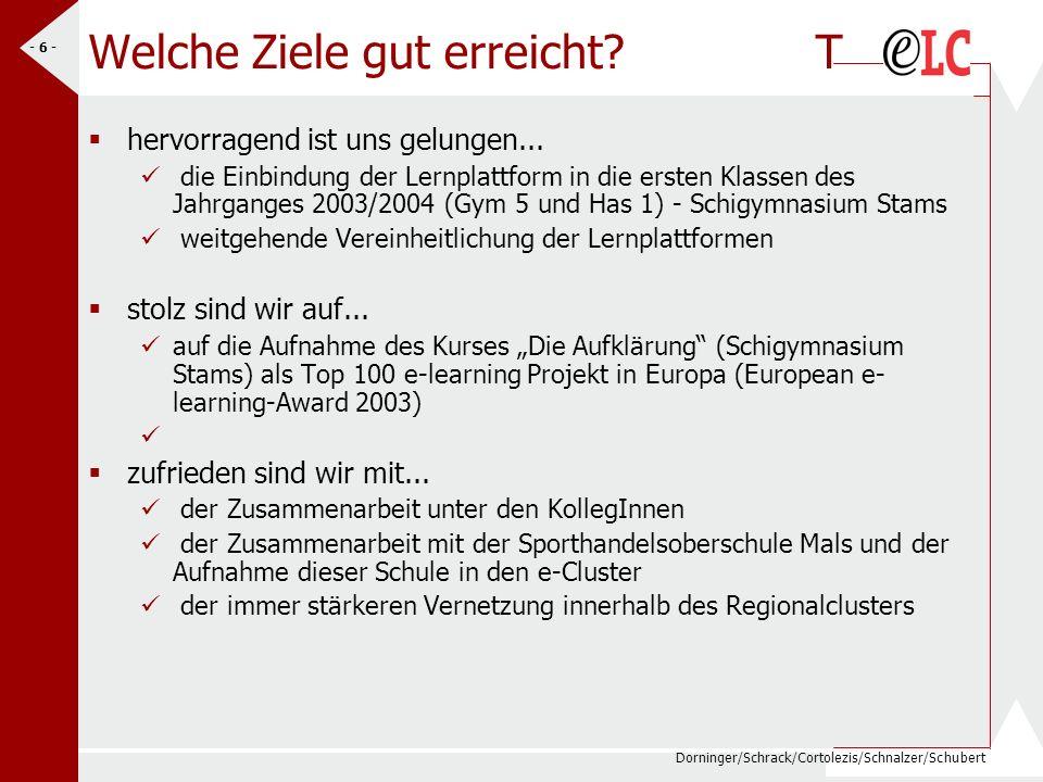 Dorninger/Schrack/Cortolezis/Schnalzer/Schubert - 6 - Welche Ziele gut erreicht? T hervorragend ist uns gelungen... die Einbindung der Lernplattform i