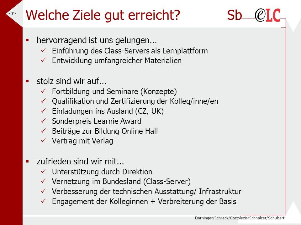 Dorninger/Schrack/Cortolezis/Schnalzer/Schubert - 7 - Welche Ziele gut erreicht? Sb hervorragend ist uns gelungen... Einführung des Class-Servers als