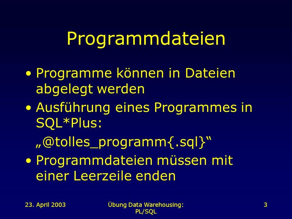 23. April 2003Übung Data Warehousing: PL/SQL 3 Programmdateien Programme können in Dateien abgelegt werden Ausführung eines Programmes in SQL*Plus: @t