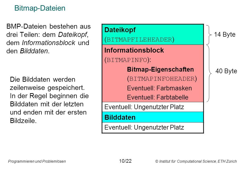 Programmieren und Problemlösen © Institut für Computational Science, ETH Zürich Bitmap-Dateien 11/22 bmpheader = packed record {----- fileinfo --------} bfType: word; bfSize: longint; bfReservde1: word; bfReserved2: word; bfOffBits: longint; {----- Bildinfo --------} biSize: longint; biWidth: longint; biHeight: longint; biPlanes: word; biBitCount: word; biCompress: longint; biSizeImage: longint; biXPPM: longint; biYPPM: longint; biClrUsed: longint; biClrImport: longint; end; Typendeklaration für Filevariable um Dateikopf und Informationsblock einer Bitmap-Datei einzulesen.