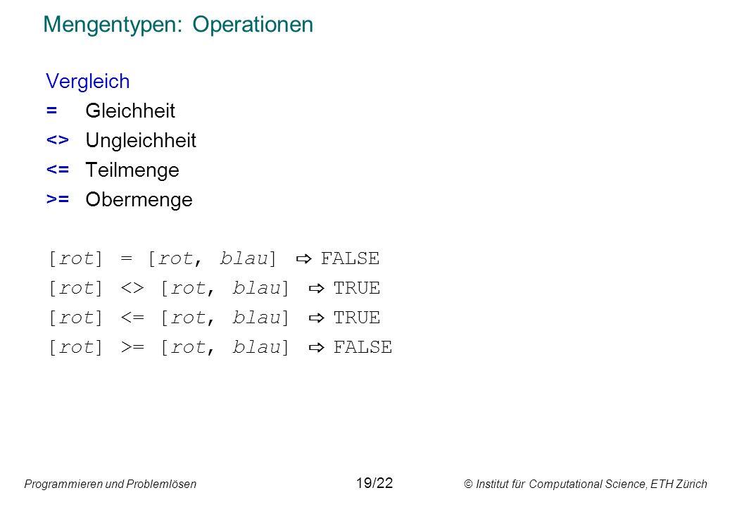 Programmieren und Problemlösen © Institut für Computational Science, ETH Zürich Mengentypen: Anwendungsbeispiele Vergleichsoperationen werden durch den Mengentyp vereinfacht: var ch: char; ( 0 <= ch) and (ch <= 9 ) ist wahr, wenn ch eine Ziffer darstellt.