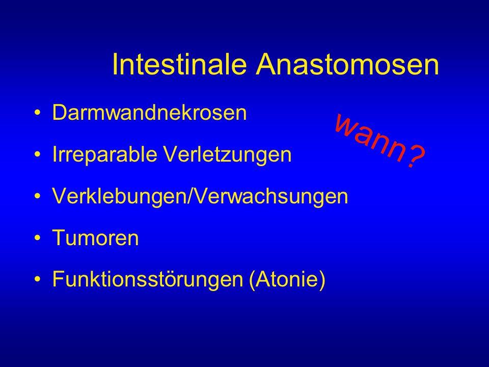 Intestinale Anastomosen Darmwandnekrosen Irreparable Verletzungen Verklebungen/Verwachsungen Tumoren Funktionsstörungen (Atonie) wann?