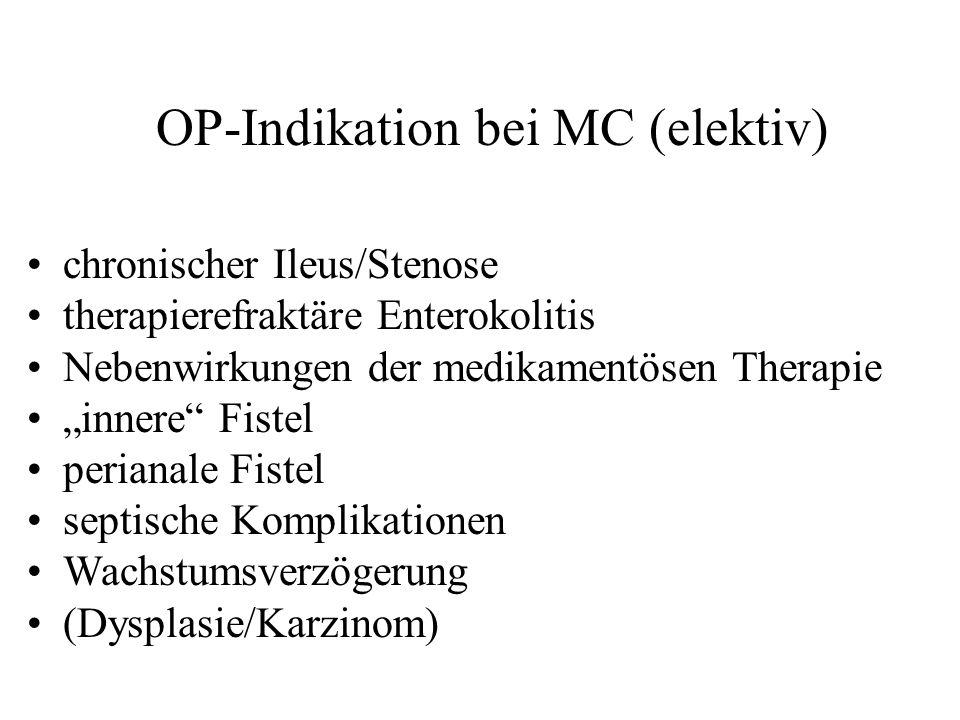OP-Indikation bei MC (elektiv) chronischer Ileus/Stenose therapierefraktäre Enterokolitis Nebenwirkungen der medikamentösen Therapie innere Fistel per