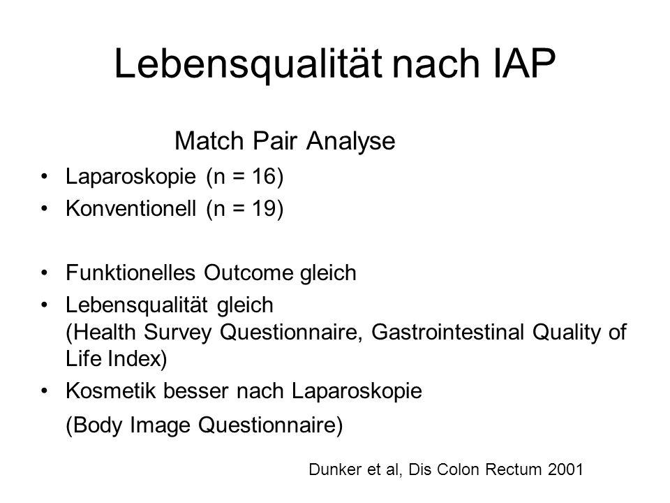 Lebensqualität nach IAP Match Pair Analyse Laparoskopie (n = 16) Konventionell (n = 19) Funktionelles Outcome gleich Lebensqualität gleich (Health Sur