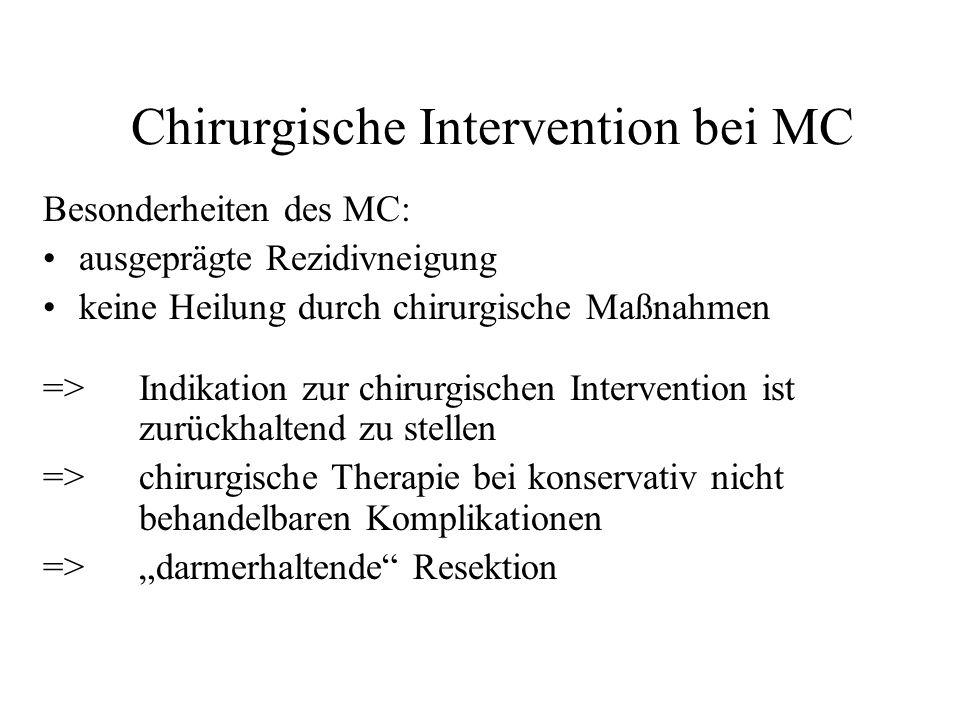 Chirurgische Intervention bei MC Besonderheiten des MC: ausgeprägte Rezidivneigung keine Heilung durch chirurgische Maßnahmen => Indikation zur chirur