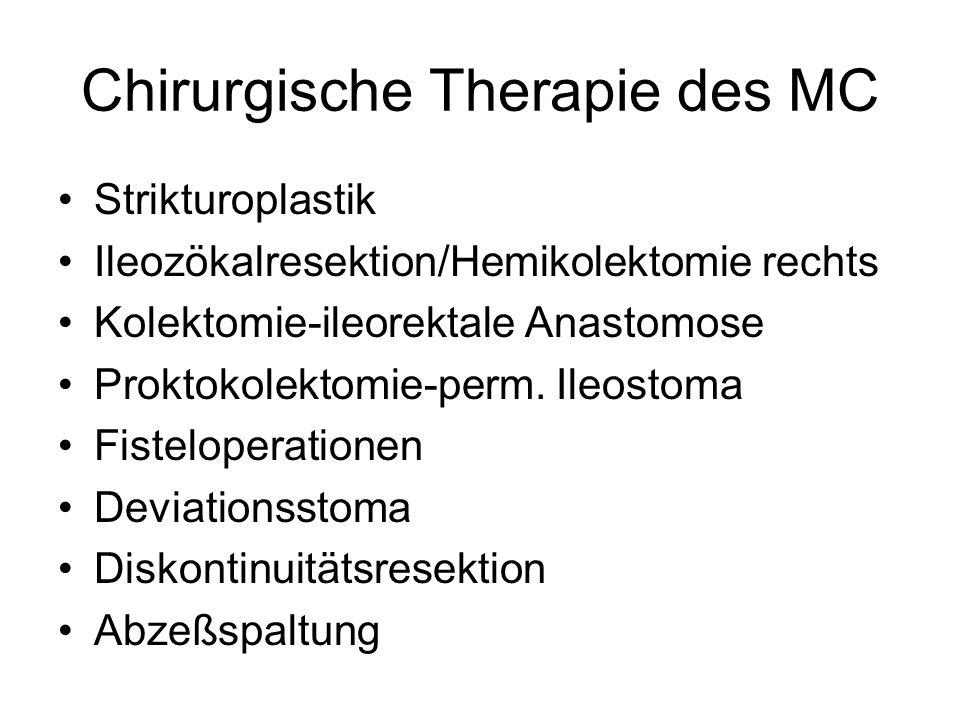 Chirurgische Therapie des MC Strikturoplastik Ileozökalresektion/Hemikolektomie rechts Kolektomie-ileorektale Anastomose Proktokolektomie-perm. Ileost