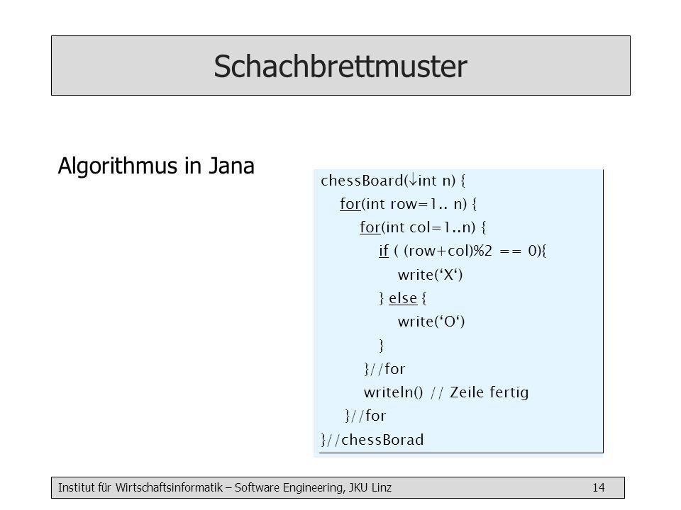 Institut für Wirtschaftsinformatik – Software Engineering, JKU Linz 14 Schachbrettmuster Algorithmus in Jana chessBoard( int n) { for(int row=1.. n) {