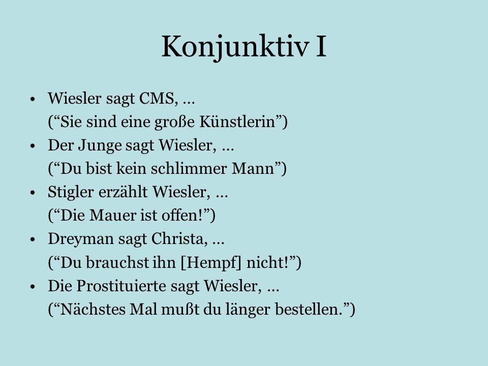 Konjunktiv I Wiesler sagt CMS, … (Sie sind eine große Künstlerin) Der Junge sagt Wiesler, … (Du bist kein schlimmer Mann) Stigler erzählt Wiesler, … (